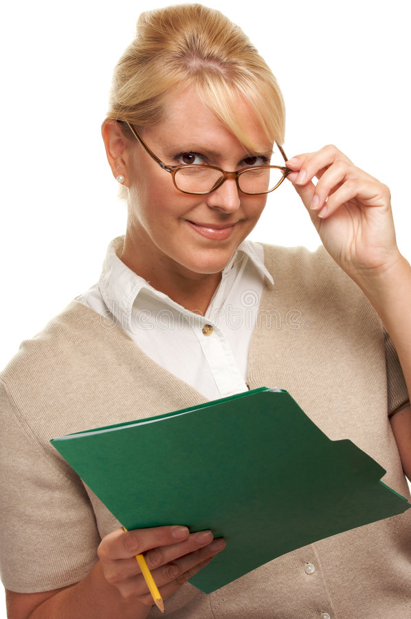 Flirty Woman with Pencil and Folder stock image