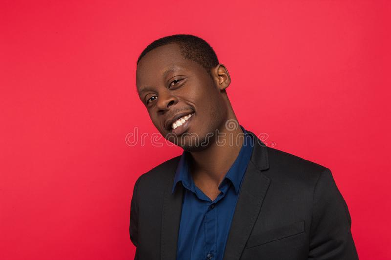 Flirty young African American. Seductive emotion stock image