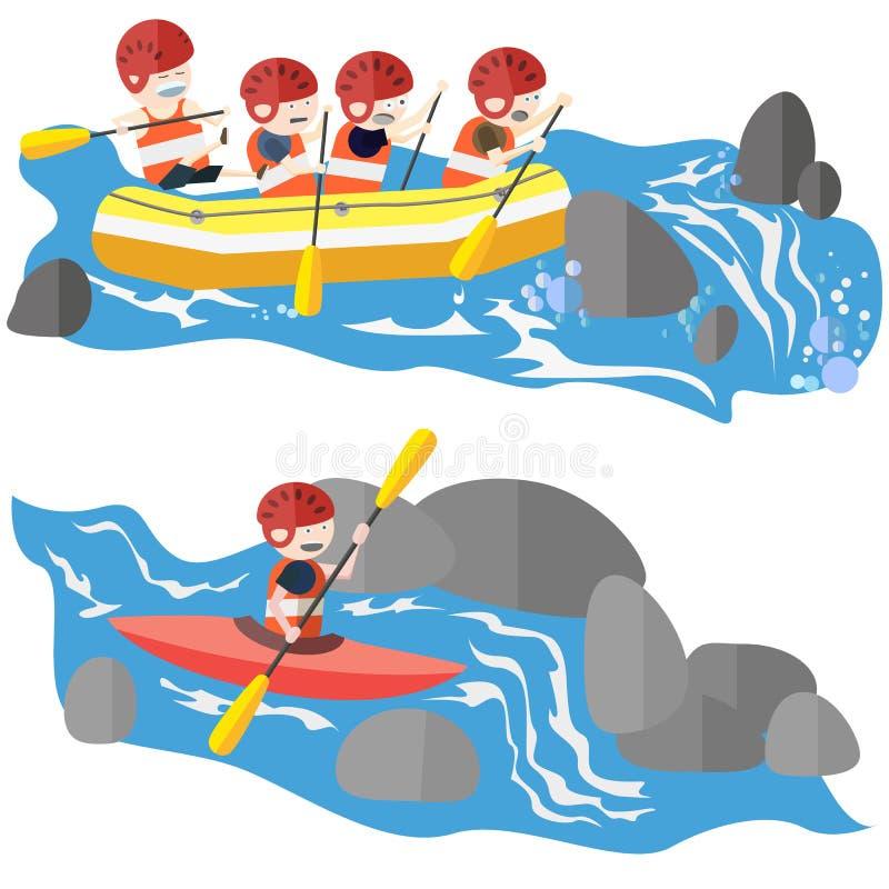 Flisactwo i kayaking ilustracji
