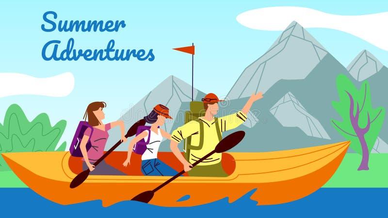 Flisactwo, Kayaking, ludzie w kajaka rzędu puszka rzece ilustracja wektor