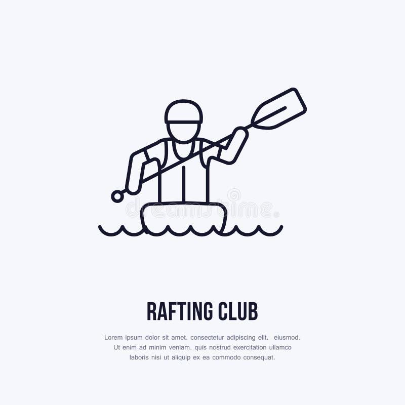 Flisactwo, kayaking mieszkanie kreskowa ikona Wektorowa ilustracja wodny sport - flisak z paddle w rzecznej tratwie Liniowy znak ilustracji