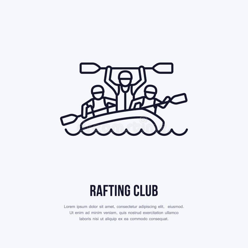 Flisactwo, kayaking mieszkanie kreskowa ikona Wektorowa ilustracja wodny sport - szczęśliwi flisacy z paddles w rzecznej tratwie  royalty ilustracja
