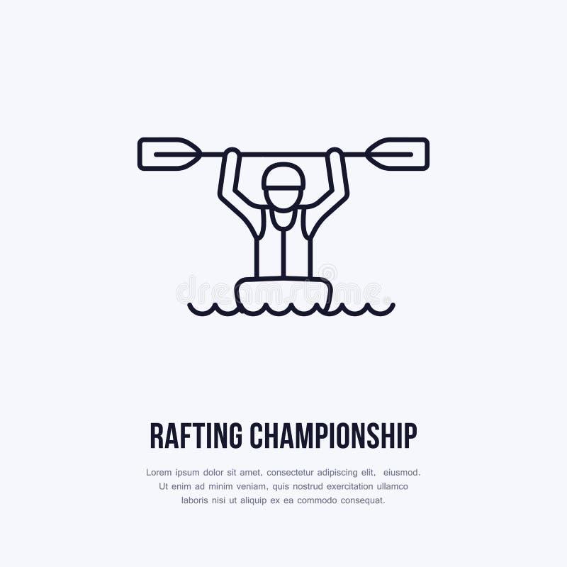 Flisactwo, kayaking mieszkanie kreskowa ikona Wektorowa ilustracja wodny sport - szczęśliwy flisak z paddle w rzecznej łodzi lini royalty ilustracja