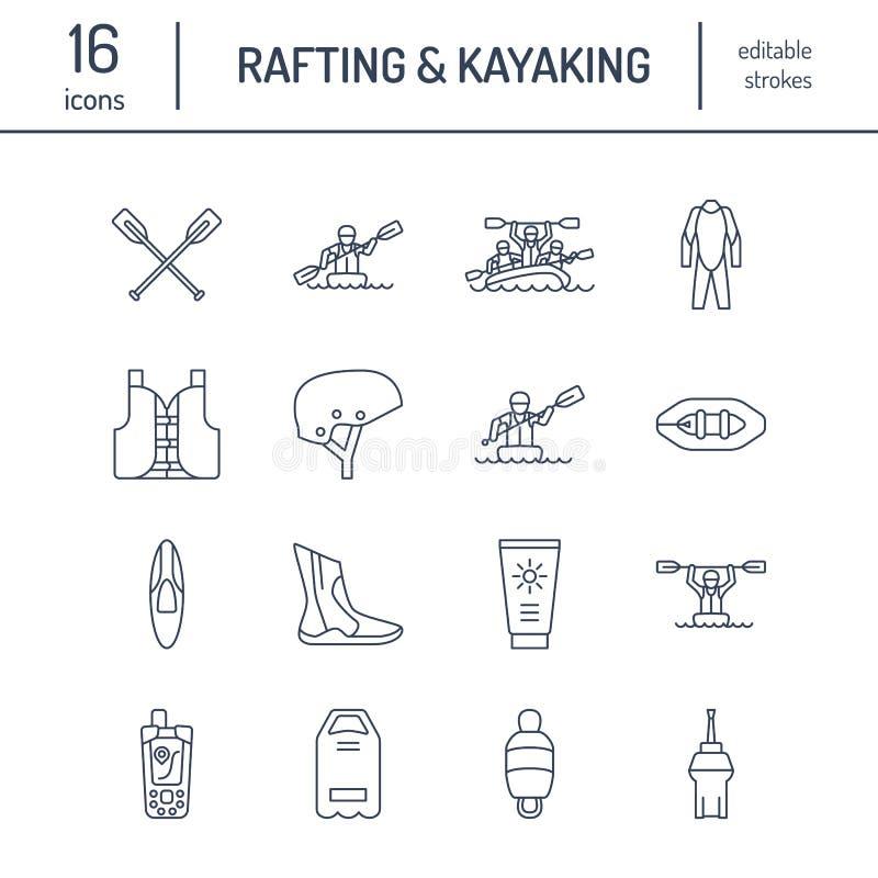 Flisactwo, kayaking mieszkanie kreskowe ikony Wektorowa ilustracja wodnego sporta wyposażenie - rzeczna tratwa, kajak, czółno, pa ilustracja wektor