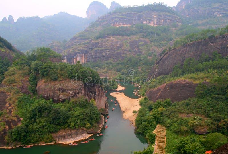 Flisactwo na rzece Dziewięć chyłów, Wuyishan fotografia royalty free