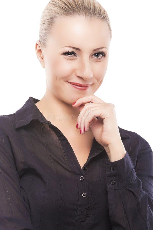 Flitring Over Pure White modelo fêmea caucasiano reservado Backgrou fotografia de stock