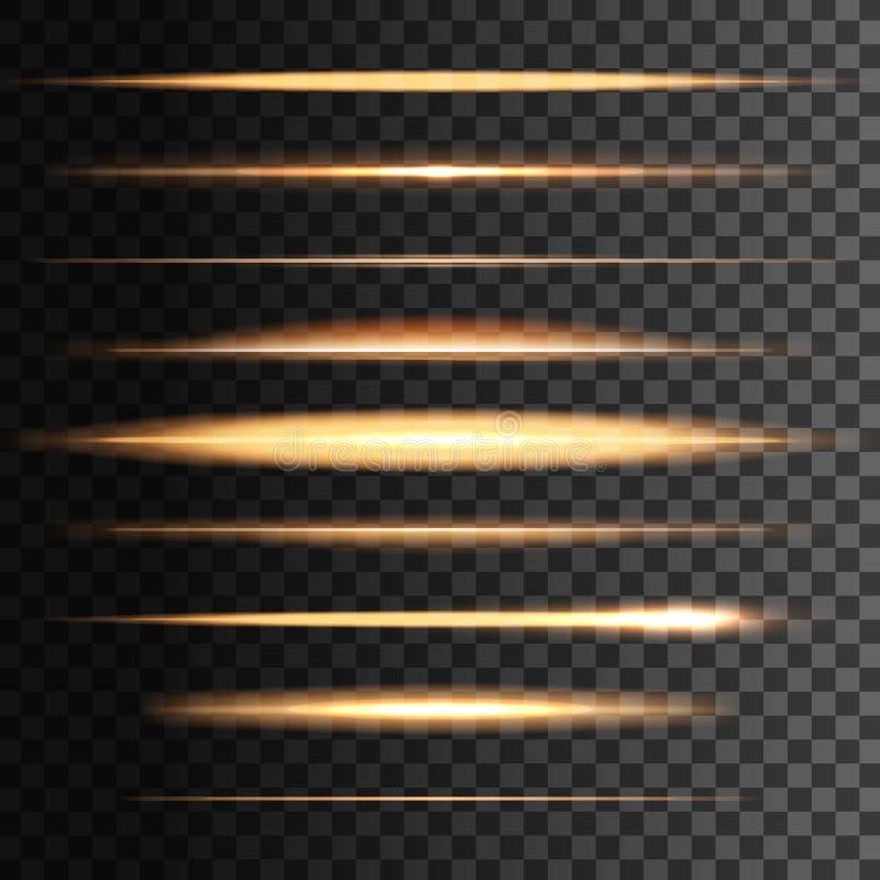Flitsen lichte gouden lijnen, vector gloeiend onduidelijk beeld stock illustratie