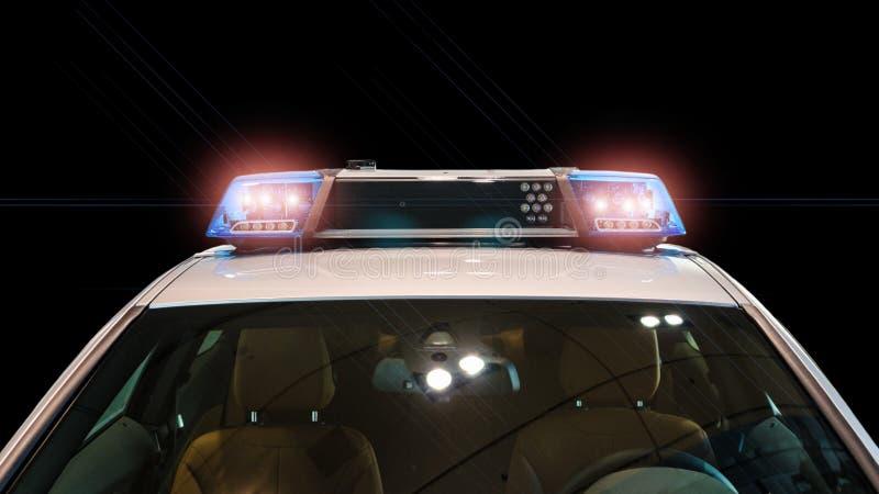 Flitslichten en sirene op de politiewagen stock afbeelding