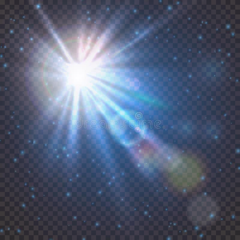 Flitsuitbarsting van sterlicht met onduidelijk beeld en het effect van de lensgloed Het glanzen zongloed Het fonkelen licht van z vector illustratie