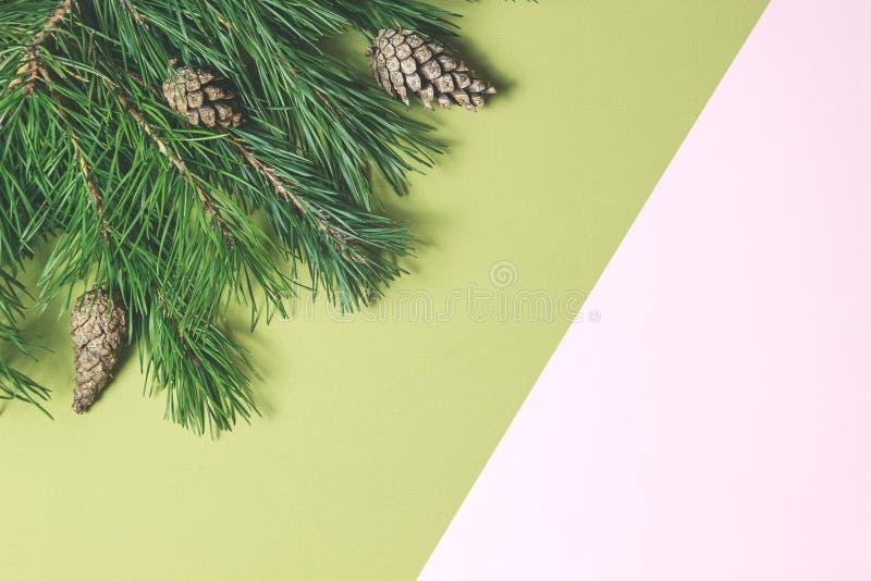 Flitter in einem blauen Glas Weihnachtsrahmen gemacht vom Nadelbaum lizenzfreies stockbild