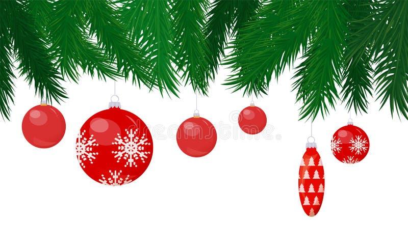 Flitter und Kegel Toy Hanging auf Weihnachtsbaum lizenzfreie abbildung