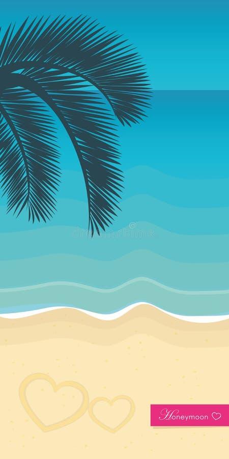 Flitterwochen auf einem tropischen Strand mit Palmeblatt und Türkiswasser lizenzfreie abbildung