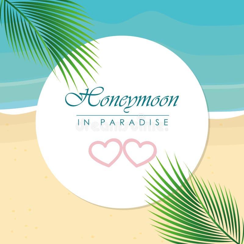 Flitterwochen im Paradiesentwurf auf dem Strand mit Palmblatt lizenzfreie abbildung