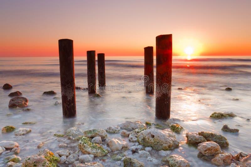 Flitterwochen-Insel-Nationalpark Florida, Sonnenuntergang stockfotos