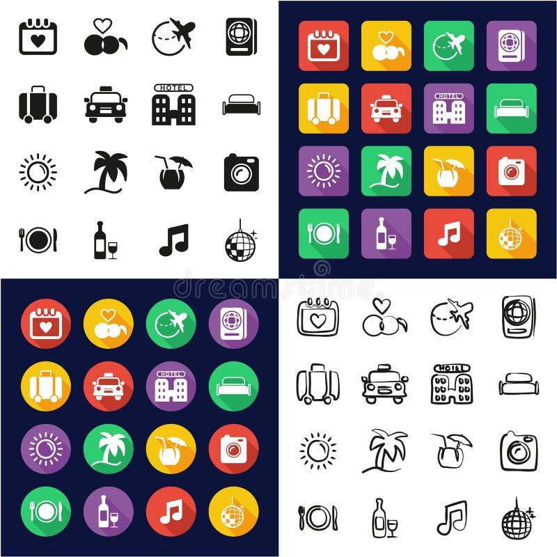 Flitterwochen-Reise-Ikonen alle in den Ikonen eine schwarz u. weißer im Farbflacher Entwurfs-freihändigen Satz stock abbildung