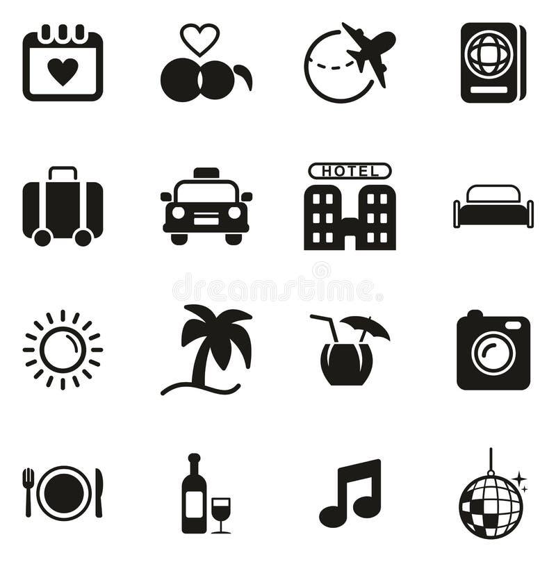 Flitterwochen-Reise-Ikonen lizenzfreie abbildung