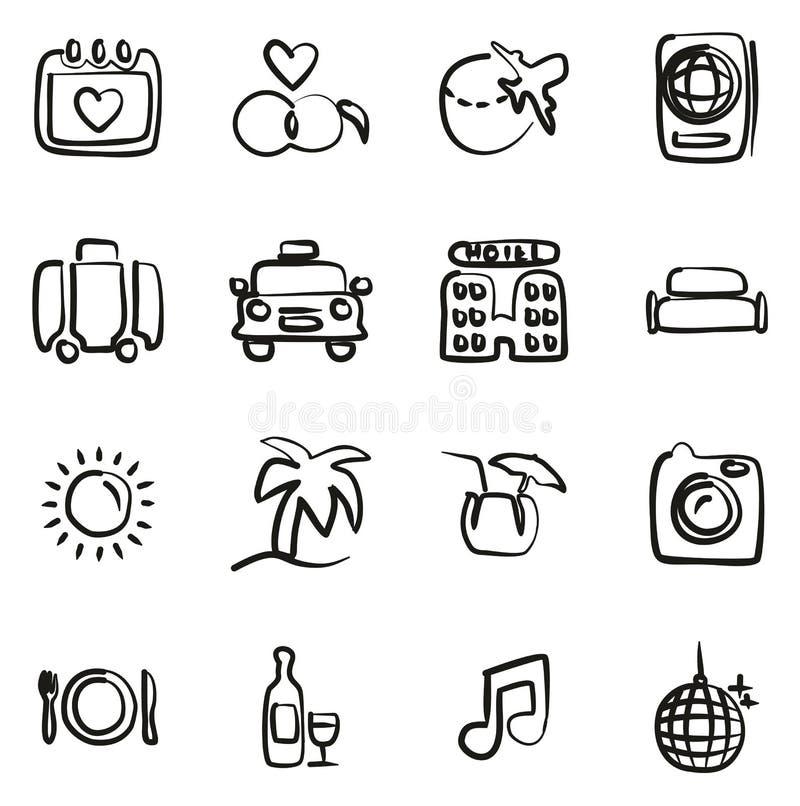 Flitterwochen-Reise-Ikonen freihändig stock abbildung