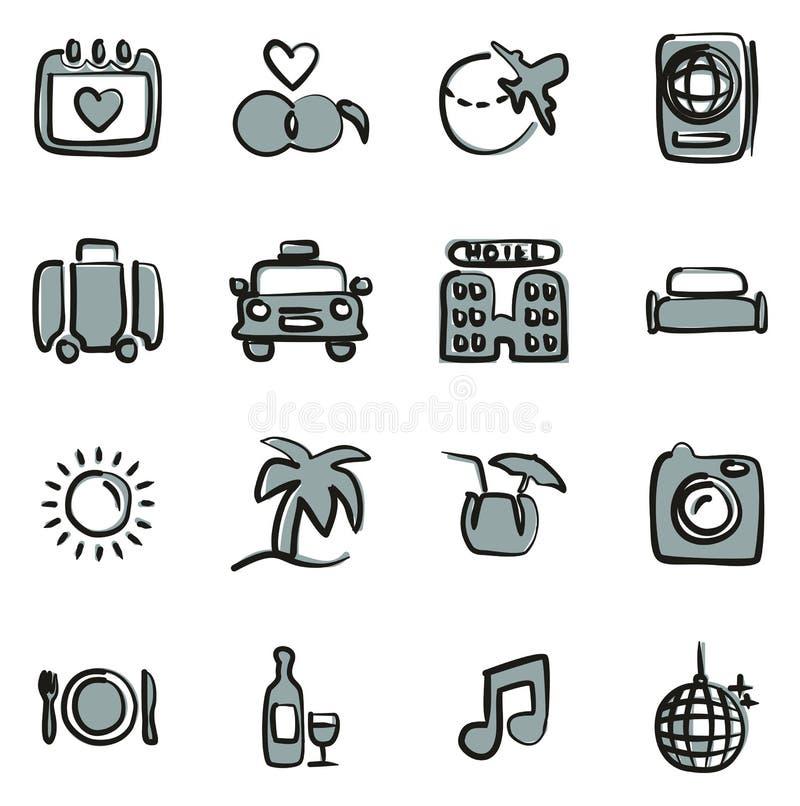 Flitterwochen-Reise-Ikonen-freihändig Farbe 2 stock abbildung