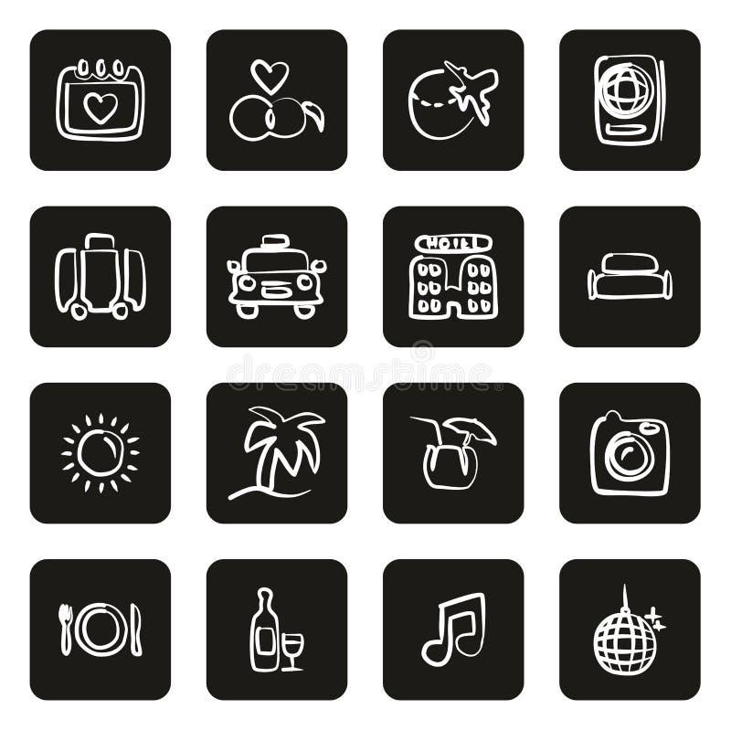 Flitterwochen-Reise-Ikonen freihändig weiß auf schwarzem Kreis vektor abbildung