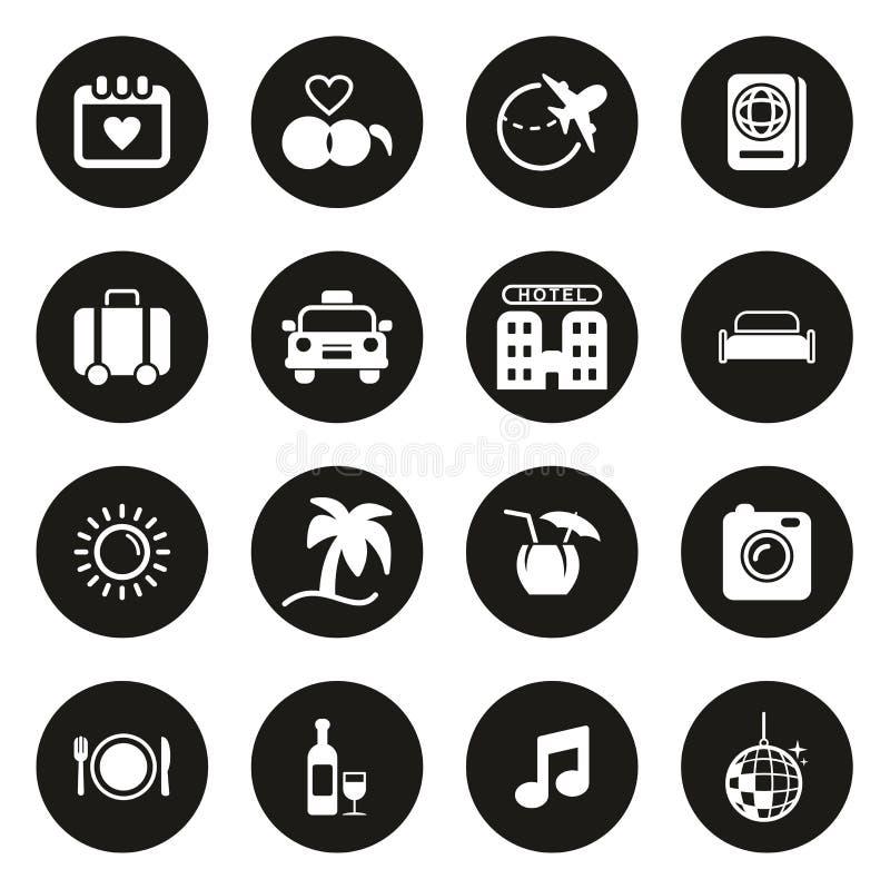 Flitterwochen-Reise-Ikonen weiß auf schwarzem Kreis stock abbildung