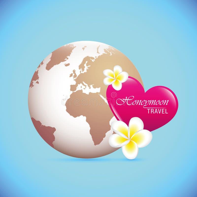 Flitterwochenkonzept-Urlaubsreisekugel und rosa Herz lizenzfreie abbildung