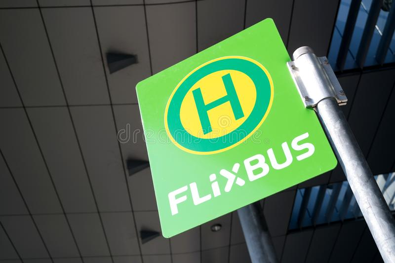Flixbus bus stop stock photos