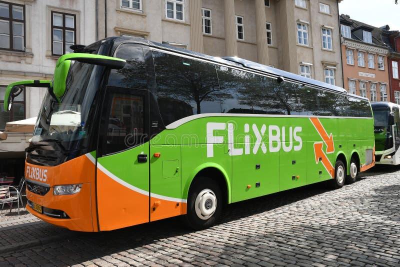 FLIXBUS VERT À COPENHAGUE DANEMARK images libres de droits