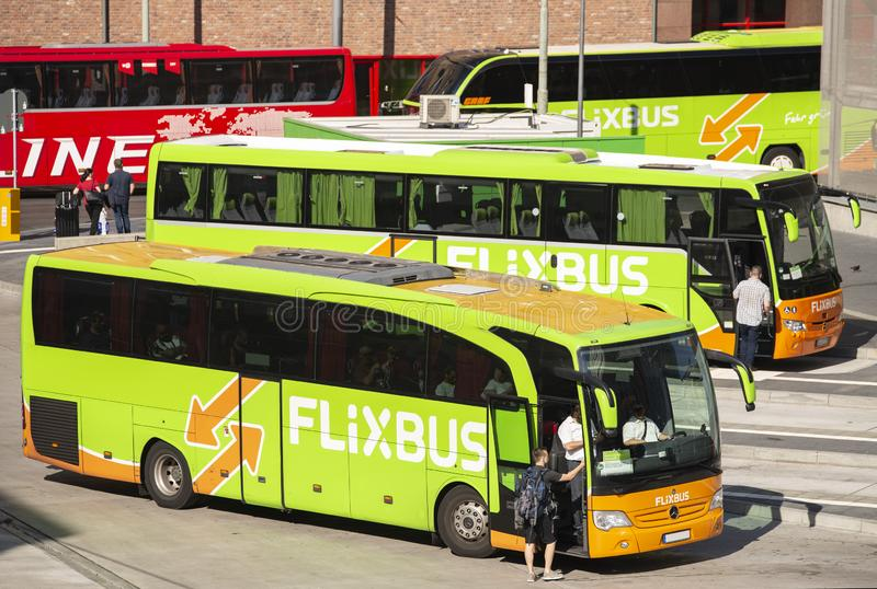 Bus terminal with Flixbusses in Frankfurt stock photography