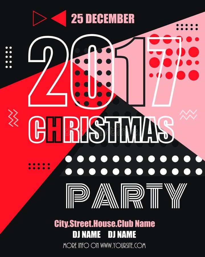 fllyer moderno del partito di clubbing di 2017 nuovi anni Stile geometrico di Memphis con le forme Illustrazione di vettore illustrazione di stock