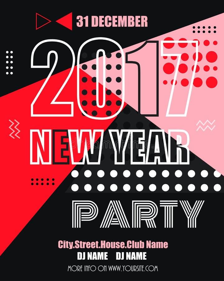 fllyer moderno del partito di clubbing di 2017 nuovi anni Stile geometrico di Memphis con le forme Illustrazione di vettore royalty illustrazione gratis