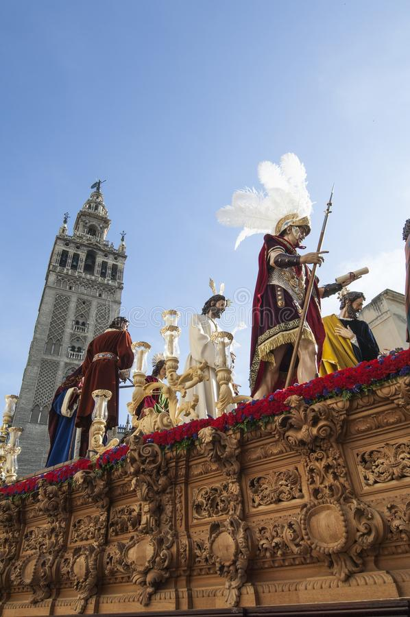 Float of Christ of the brotherhood. Of `El Carmen Doloroso` during its penitential journey on Holy Wednesday royalty free stock photo