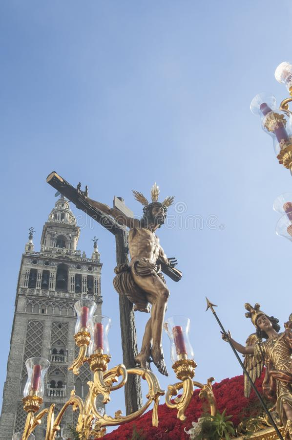 Float of Christ of the brotherhood. Of `La Sed` during its penance station on Holy Wednesday stock photo