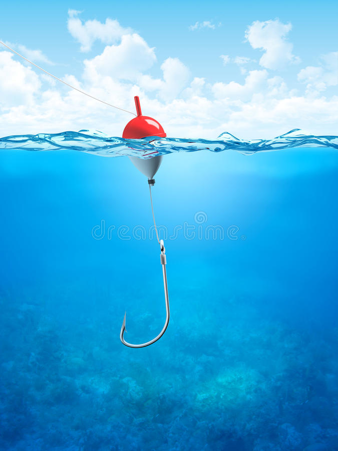 Free Float, Fishing Line And Hook Underwater Royalty Free Stock Image - 13063516
