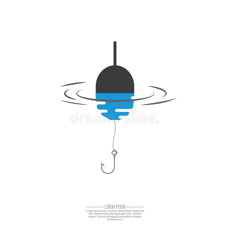 Float, fishing line and hook. stock illustration