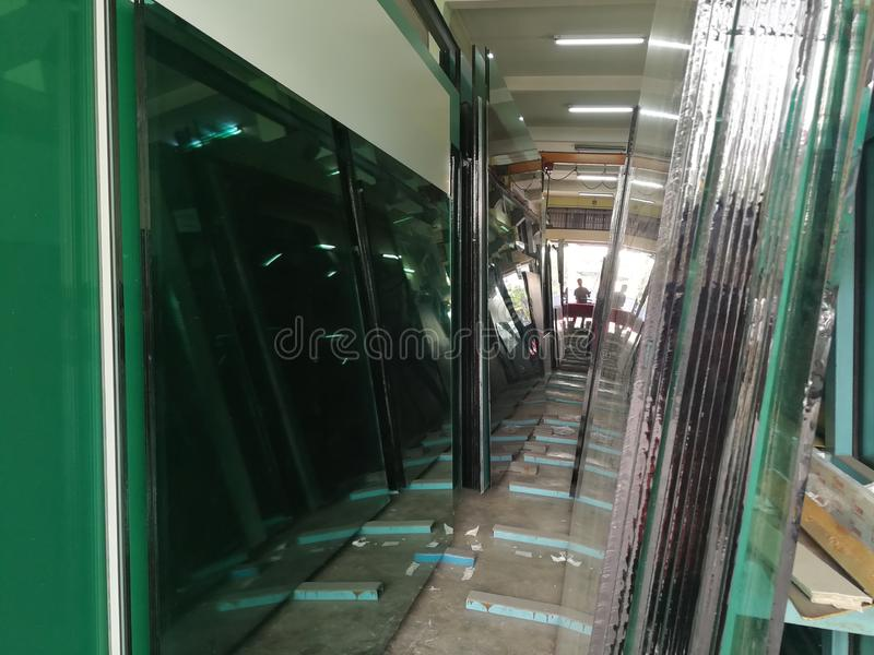 The float glass production plant stock photos