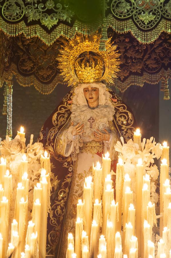 Float of pallium of the brotherhood of. `San Bernardo` during its penitential journey on Holy Wednesday royalty free stock image
