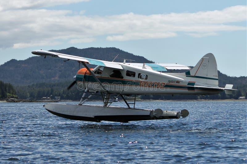 Float plane landing in Ketchikan Alaska royalty free stock photo