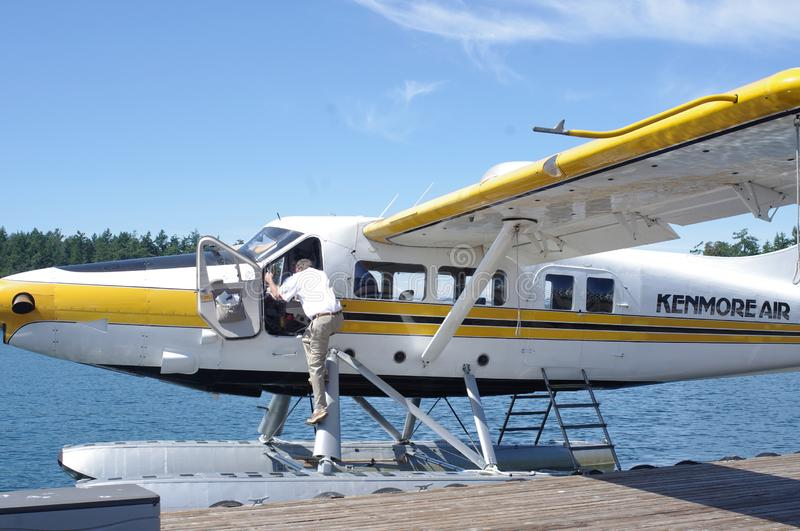 Float plane at the pier royalty free stock photography