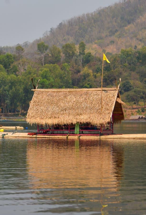 Float raft downstream. Tourist at reservoir thailand stock photo