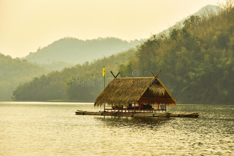 Float raft downstream. Tourist at reservoir thailand royalty free stock photo