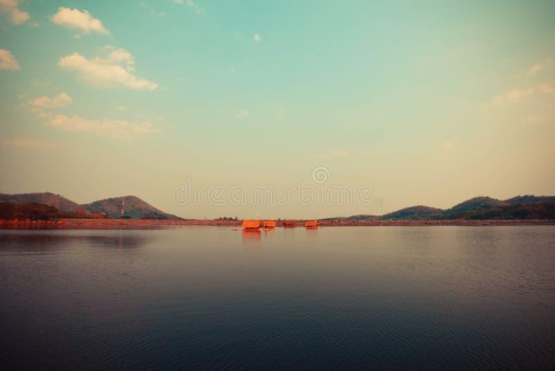 Float raft downstream. Tourist at reservoir thailand stock photos