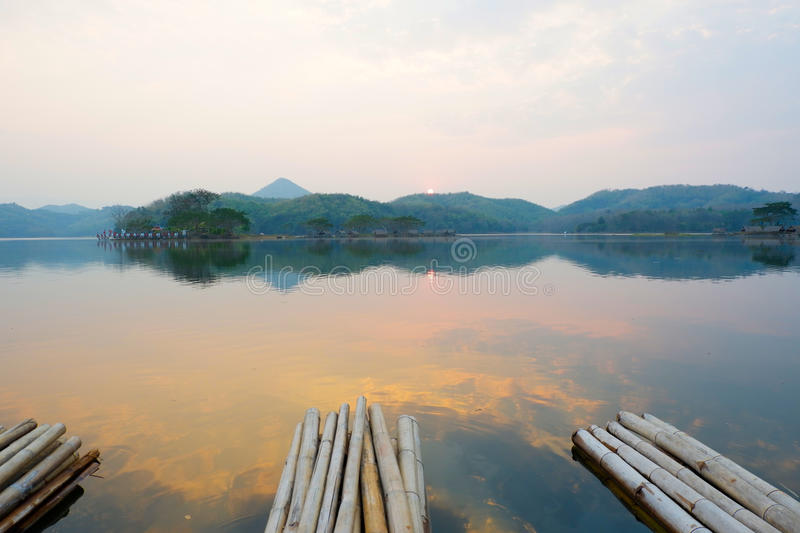 Float raft downstream. Tourist at reservoir thailand royalty free stock image