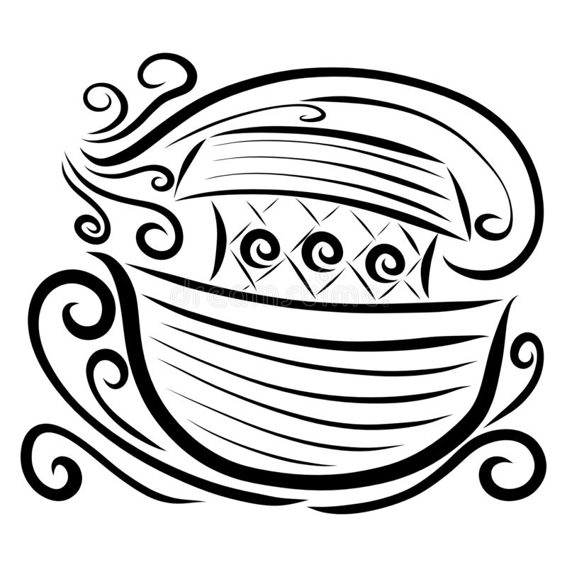 Floating Ark, waves and strong wind, black pattern.  stock illustration