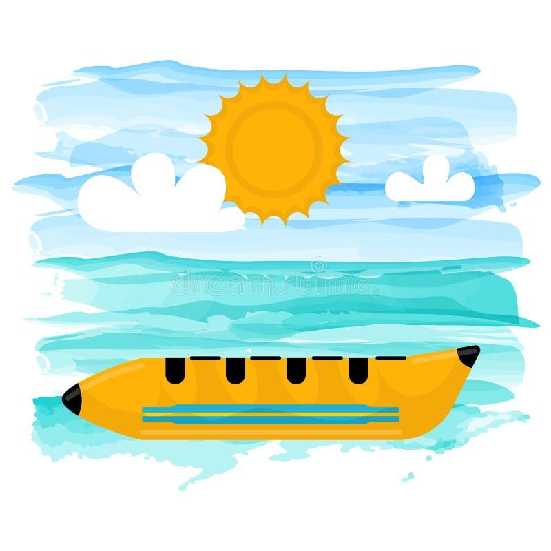 Floating banana boat royalty free illustration