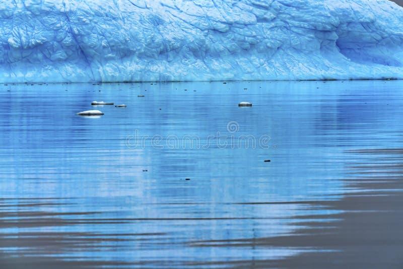 Floating Blue Iceberg Reflection Paradise Bay Skintorp Cove Antarctica stock photos