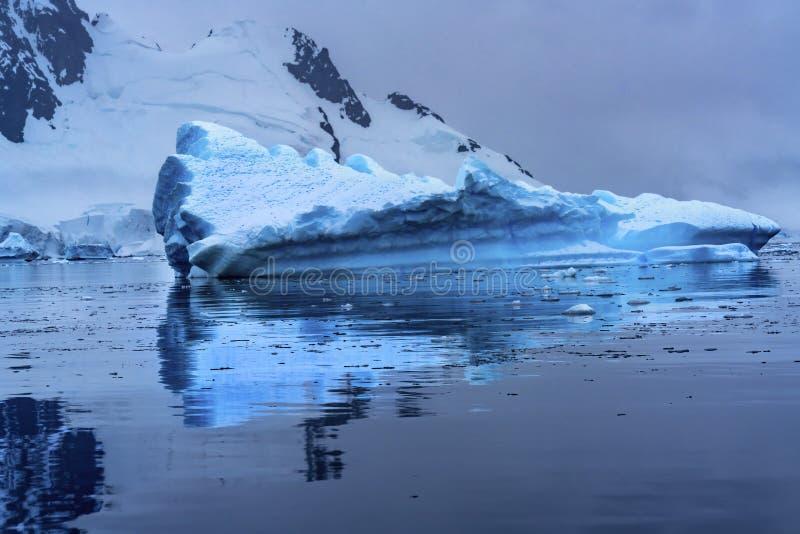 Floating Blue Iceberg Reflection Paradise Bay Skintorp Cove Antarctica royalty free stock photo