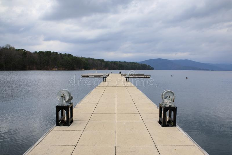 Floating Boat Dock Lake Jocassee South Carolina. Floating boat dock on Lake Jocassee at Devils Fork State Park near Sumter National Forest in Salem, South royalty free stock images