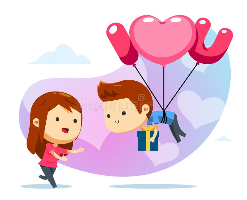 A floating boy with balloon and a girl ready to catch stock illustration