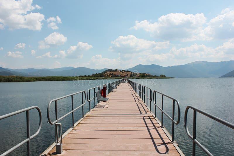 Floating bridge at Prespes Lake Florina northern Greece. Europe royalty free stock photography