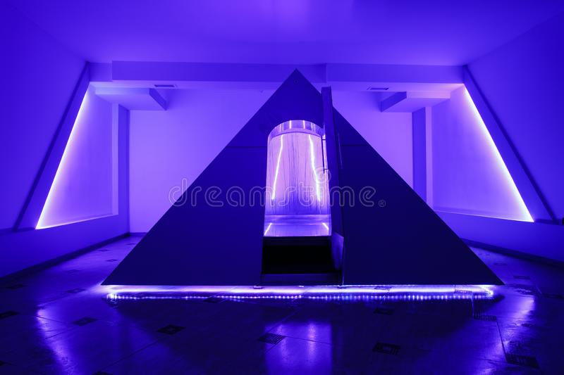 Floating camera in the form of a pyramid in the recreation center stock photos